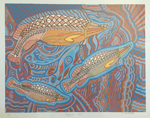 Australian Aboriginal print with three fish by Doris Gingingara